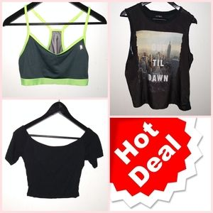 Bundle of 3 items: Sports Bra, Top & Crop Top
